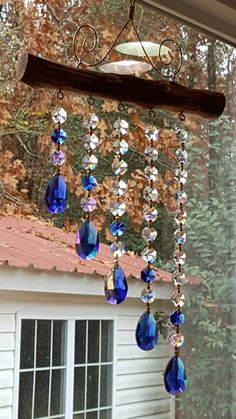 5 Strand Sapphire Cascading Waterfall by GeorgiaSuncatchers Wire Crafts, Bead Crafts, Crafts To Make, Fun Crafts, Carillons Diy, Wind Chimes Craft, Glass Garden Art, Beaded Curtains, Driftwood Art