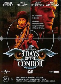 Image result for three days of the condor poster