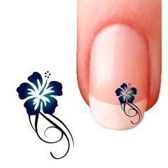 10 Stickers Bijoux Ongles  Hibiscus Bleu- nail art