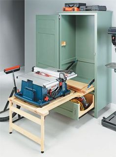 Stow your benchtop saw and gain more shop space with this practical cabinet.