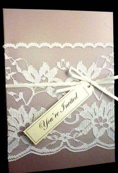 diy vintage romantic shower invitations | love the lace sleeve.