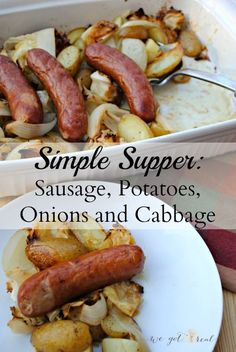 Sausage, potatoes, onions, and cabbage. A beyond simple dinner that only uses one dish.- We Got Real A simple supper that only takes a few minutes to put together. It all bakes in one dish for easy clean up too! Cabbage Recipes, Pork Recipes, Real Food Recipes, Cooking Recipes, Healthy Recipes, Real Simple Recipes, Rub Recipes, Healthy Dinners, Recipies