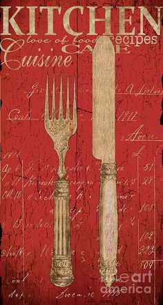 Vintage Kitchen Utensils in Red Painting  - Vintage Kitchen Utensils in Red Fine Art Print