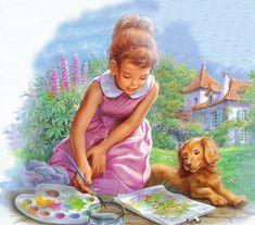 Illustration par Marcel Marlier Marcel, Illustrations, Book Illustration, Me And My Dog, Still Life Drawing, Painting For Kids, Dog Art, Vintage Art, Vintage Images