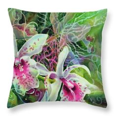 Orchid Series 13 Throw Pillow by Deborah Younglao