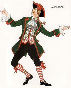 Meneghino, a character from Commedia dell'arte, Italian comic theatre with fixed masked characters, is associated with Milan. Meneghino is a just, honest, and sincere servant. Later on, this figure is used to mock and show the shallowness of aristocracy, critiquing the oppressors.
