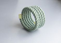 Rope bracelet green with memory wire by Myknotting on Etsy, $16.00