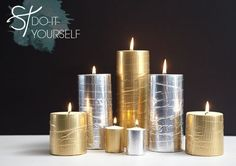 Metallic duct tape will transform your candles. | The 52 Easiest And Quickest DIY Projects Of All Time