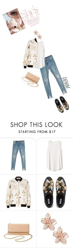 """""""Distressed Denim + Bomber Jacket"""" by random11-1 ❤ liked on Polyvore featuring Gap, River Island, Dune, Charlotte Russe, NAKAMOL and distresseddenim"""