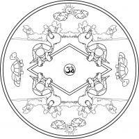 Mandala Tortugas. Para pintar, colorear, imprimir.