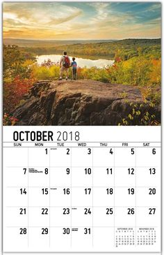 Beautiful Wall Calendar October 2018 Calendar 2018, Beautiful Wall, Layout Design, October