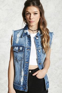 7418fd4aa62 Distressed Denim Vest Edgy Outfits