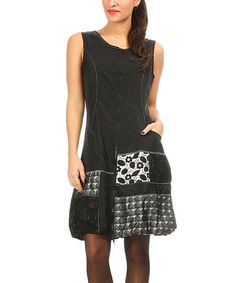 Another great find on #zulily! Black & Gray Patchwork Zip-Up Dress #zulilyfinds