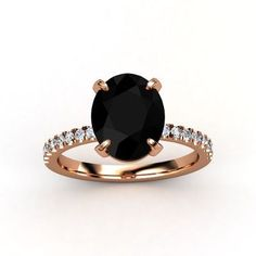 Oval Black Onyx 14K Rose Gold Ring with Diamond - lay_down