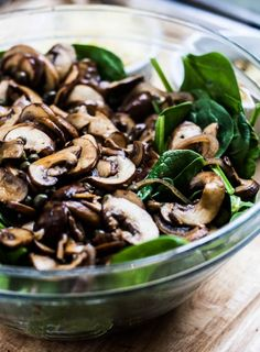 Warm Spinach Salad with Mushrooms and Pine Nuts