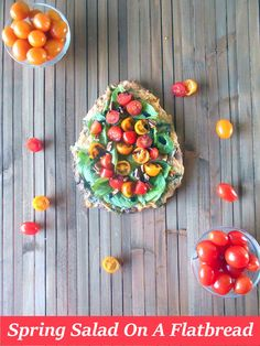 Spring Salad On A Flatbread - Made with baby spinach, cherry tomatoes and pecans.  Drizzled with Balasmic Reduction Sauce.  Flatbread made with Pesto, mini sweet peppers and cheese  http://www.healingtomato.com/2015/04/08/spring-salad-on-flatbread-pizza