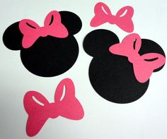Items similar to 50 Minnie Mouse Head Silhouettes Black Cutouts with Bow Color Choice PINK OR RED Bows Not Attached Die Cut Paper Crafting Scrapbooking on Etsy Mickey Mouse Classroom, Mickey Mouse Head, Mickey Mouse Birthday, 2nd Birthday, Mouse Ears, Birthday Cards, Birthday Parties, Minnie Mouse Silhouette, Silhouette Vinyl