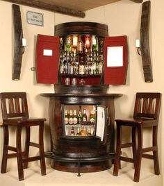 Oakly Corner Liquor Cabinet with corner bar fridge and two bar stools