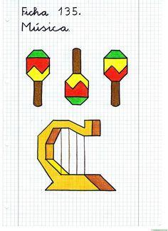 Dibujos en cuadrícula para copiar-Música