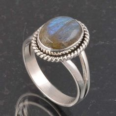 BLUE FIRE LABRADORITE 925 SOLID STERLING SILVER FASHION RING 3.92g DJR6368 #Handmade #Ring