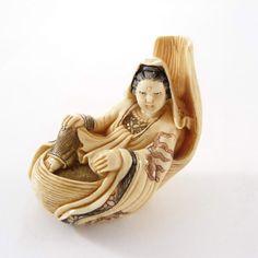 Mammoth Ivory Netsuke - Lady Fortune-Teller Lying On Chair