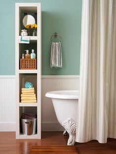 open shelf for bathroom