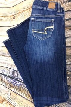 AMERICAN EAGLE AE Artist Boot Cut Jeans Sz 4 Long Dark Distressed Denim 30 x 34 #AmericanEagleOutfitters #BootCut
