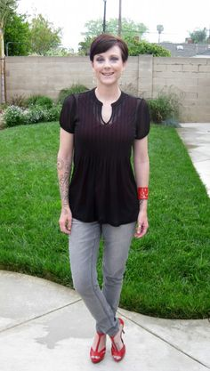 Red, gray and black #outfit  Top from @The Limited