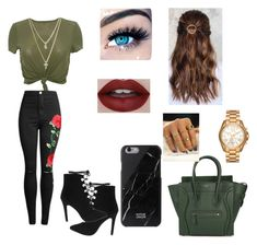 """""""Green day"""" by camaro1992 on Polyvore featuring CÉLINE, NA-KD, LOFT, Michael Kors and MINX"""