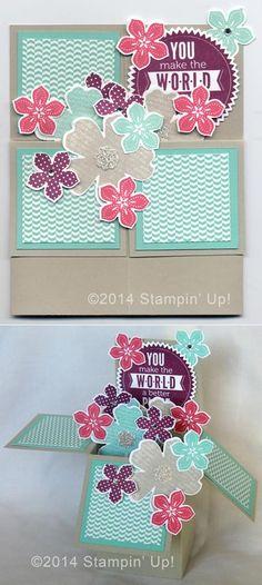 Stampin' Up! Cards - Box Card, Flower Shop, Petite Petals, Starburst Sayings Stamp Sets, Pansy, Petite Petals Punches, Starburst Framelits Dies