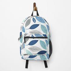 Leaf Prints, Art Prints, Blue Leaves, Custom Bags, Fashion Backpack, Floral Design, Backpacks, Printed, Awesome