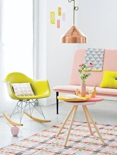 pastel / interior / design / vitra / rocking chair / pink / yellow / white / carpet