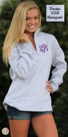The sweatshirt you NEED in your closet! This monogrammed pullover is the perfect piece to layer and transition into fall. Preview your monogram on every color on Marleylilly.com today! #backtoschool