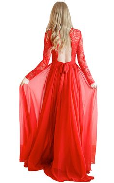 Dreamdre Women's Jewel Lace Long Sleeves Keyhole Back Pleated Chiffon Prom Dress Red US12 -- Awesome products selected by Anna Churchill