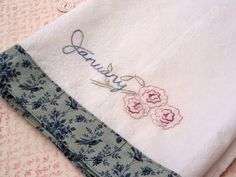 January carnations flour sack towel