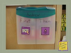 Visual Schedule Series: First-Then Schedules (Freebie!!)  - this one is awesome. It has the first/then hung up in a visual location- & you can still have the storage for the PEC choices right there handy. <3 it, but I would use a solid binder instead to reduce visual overstimulation w/cade