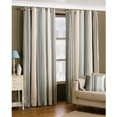 Ready Made Striped Eyelet Curtains - Lined Cream Grey Duck Egg Blue Curtain Pair