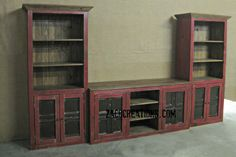 Media Center - Home Theater Wall Unit With Shelves In Vintage Red