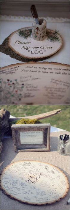 rustic country wood wedding guest books #weddings #weddingideas #rusticweddings #weddingguestbooks #countryweddings #rosesandrings