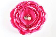Pink and white satin flower hair clip pink by LayersandFrills, $7.00