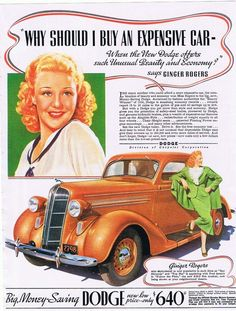 Ginger Rogers for 1936 Dodge