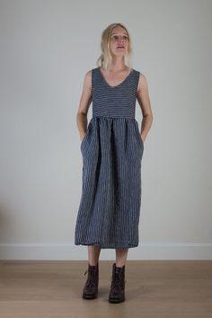 Indigo stripe v-neck linen dress 2.jpg