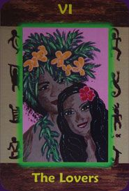 The Lovers -  HazelMoon's Hawaiian Tarot -  Katalin E Csikos - Artful Dragon Press 2010