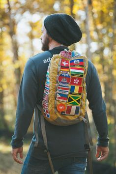bag with patches from countries travelled