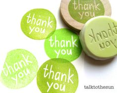 thank you rubber stamp. hand carved rubber stamp. hand lettered stamp. circle pattern. card making. craft projects. mounted.