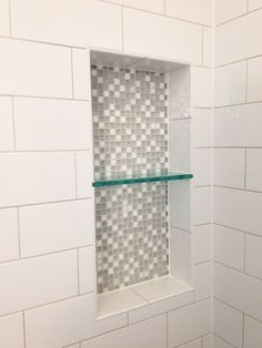 Ice White- 4 x 10 Glossy Subway Tile - showing the tile, niche  with glass split  AKG DESIGN STUDIO