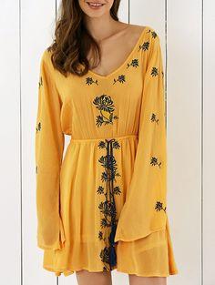 Embroidery V Neck Long Sleeve Drawstring Dress