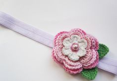 Pink and White Crochet Flower Headband   totally love this