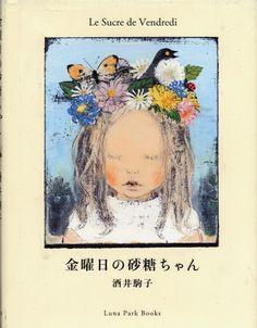 """illustration japonaise jeunesse : """"le sucre de vendredi"""", Komako Sakai, portrait d'enfant, couronne de fleurs"""