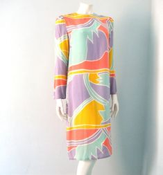 Vintage 80s Silk Dress Abstract Pastel Pop by WelcomeHomeVintage